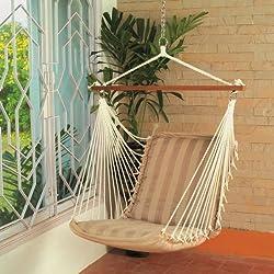 Hangit Soft Multi-color Hammock swings for home indoor in wood & fabric (Tan)