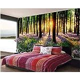 MSyikU Carta da Parati in Seta Carta da Parati 3D Foto Personalizzata Foto di Dipinti a Parete murali 3D di Sunny Woods Lavender Landscape Room Decoration per pareti 3D,250cm*200cm