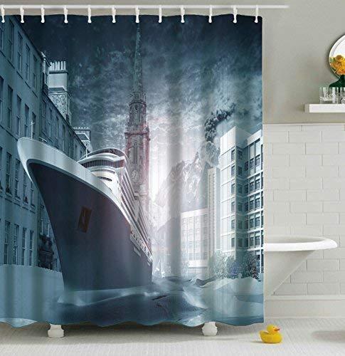 Furnily 3D Duschvorhang Lebhafte Nautische Ozeanwellen Polyester wasserdichter Form Badezimmer-Vorhang