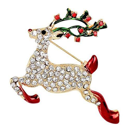Hosaire 1x Brosche Mode Kreative Weihnachten Sikahirsch Design Broschen Kleidung Dekoration Damen Brosche Schmuck Zubehör Männer/Frauen Weihnachten Brooch