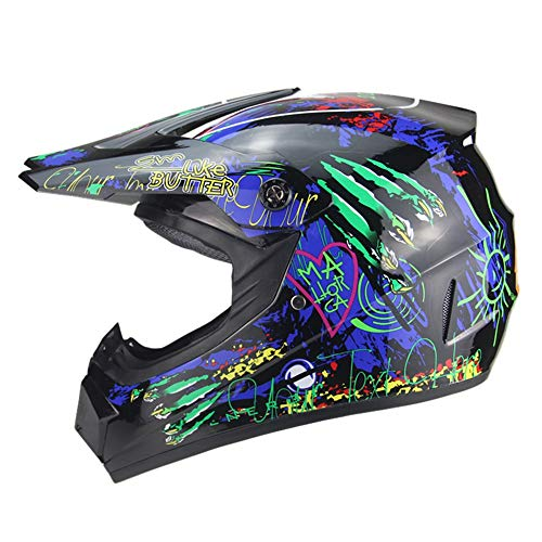 Exklusive Anpassung Graffiti Mountain Downhill-Schutzhelm Für Große Gelände Männer Und Frauen Motorrad Vollhelm Offroad-Helm Aus ABS Material Sicheres Fahren (Farbe : Black, Size : L)
