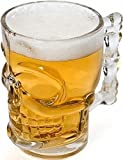 #6: Drinking Glass Water Beer Juice Bar Mug Skull Shaped with Solid Easy to Hold Handle