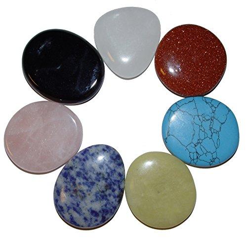 Preisvergleich Produktbild Chakra Set 7 flache Edelsteine Scheibensteine mit Info - Kärtchen