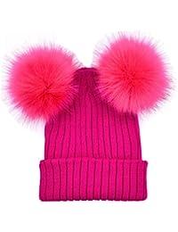 51224945e2511 Webla Women Winter Warm Hats Crochet Knit Beanie Cap with Two Pompom Balls