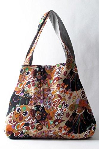 YuanDian Donna Retrò Nazionale Del Vento Stampa Borse a Spalla Messenger Borse Alta Capacità Shopping Bag Albicocca Stampa