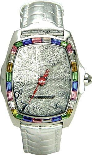 Chronotech MILLIONAIRE - Reloj analógico de mujer de cuarzo con correa de piel plateada - sumergible a 30 metros