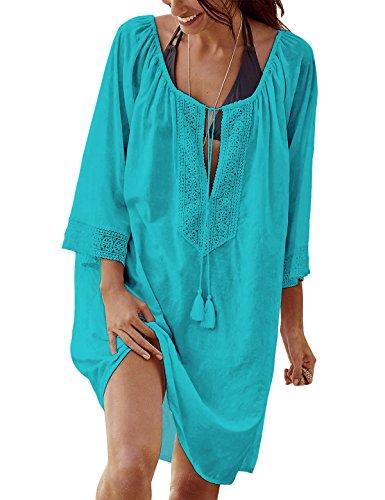 PANAX Damen Baumwolle Strandkleid mit Besticktem Blumenmuster Strandponcho mit ohne Quasten Wei/ß