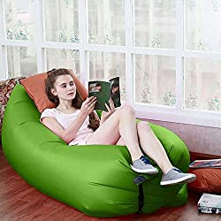 Okayji Inflatable Sleeping Bag Beach Hangout Lazy Air Bed Use For Picnic, Home - Green
