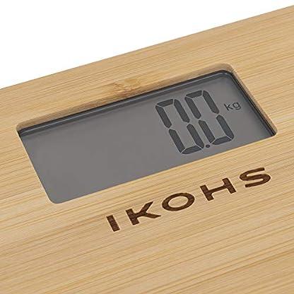 51vKttklx9L. SS416  - IKOHS NATURE WELLNESS - Báscula de Baño con Pantalla LCD, compacta, Capacidad de 180 kg, Laminado de Bamboo Natural