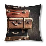 Kinhevao Vintage Pile Anciennes valises sur Coussin Noir Protecteur minable Coussin...