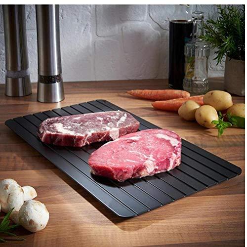 Zonster Küche Defrost Tray Gefrorenes auftauen Matte für Lebensmittel Fleisch Fisch Heim Abtauwanne Aluminium Mikrowelle Mat Kochen Tools 23x16.5cm 1x -
