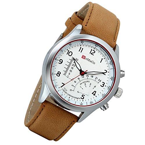 Lancardo orologio da polso con cinturino in pelle coffee per uomo quadrante digitale termometro decorativo 24h