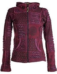 Vishes – Alternative Bekleidung – Kurze, leichte Patchworkjacke aus Baumwolle mit Zipfelkapuze und Cutwork