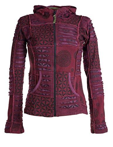 Vishes - Alternative Bekleidung - Kurze, leichte Patchworkjacke aus Baumwolle mit Zipfelkapuze und Cutwork dunkelrot 40 (Strick-stoff Lila)