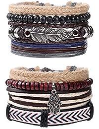 BoomYou Pulsera de Cuero Trenzado Encanto de Cuentas de Madera Wrap Link Wrist Conjunto de Pulsera