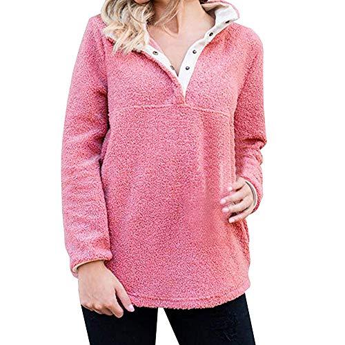 VRTUR Damen Kontrastfarbe Elegante Stand Halsband Tasche Weich Vlies Sweatshirt Zur Seite Fahren Hoodies Sweatshirt Pullover Oberteile Tops (S,X-Rosa)