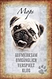 ComCard Hunde steckbrief: Mops - aufmerksam, umgänglich, verspielt, klug schild aus blech, metal sign, tin
