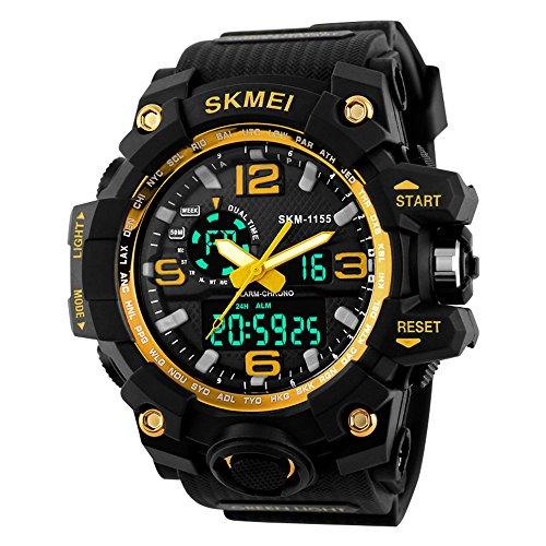TTLIFE orologio da polso della di Men digitale orologio resistente all'acqua Guardare sportivi Allarme Cronometro (Oro)