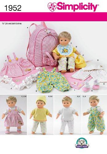 Simplicity Muster 1952Puppe Kleidung und Zubehör Größe, eine Größe - Kleidung Puppe Muster