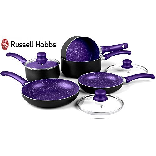 Russell Hobbs 8 Piece Induction Non Stick Stone Pan Set Saucepan Frying Pan Kitchen Cookware (Purple)