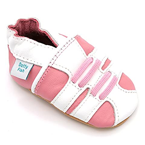 Soft Leather Baby girls Chaussures - blanc et rose fille sportive par Dotty Fish - 2-3 Ans