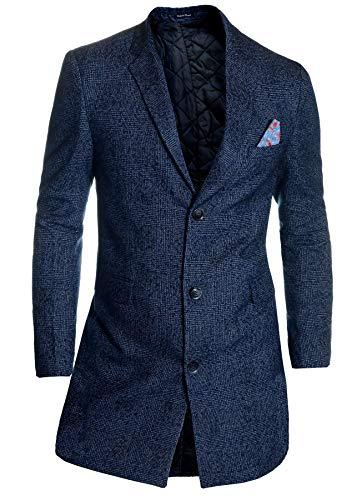 D&R Fashion Escudo a Cuadros de los Hombres 3/4 Largo Lana de Cachemira Abrigo de Invierno Azul Oscuro...