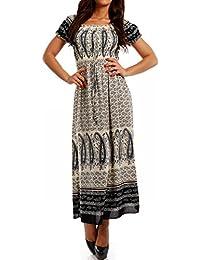Damen Maxikleid Kleid Strandkleid Carmen Ausschnitt