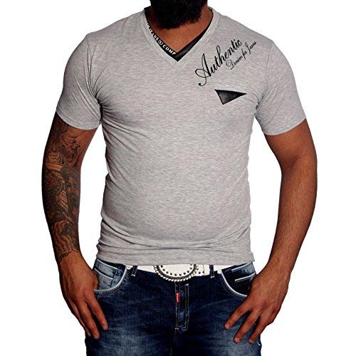 Baxboy Herren Hemd Kurzarm V-Neck Designer Polo T-Shirts Slim Fit Shirt JP-917 Grau