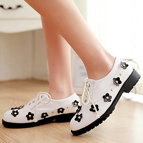 COOLCEPT Femmes Casual Dentelle Chaussures Fleur Studed Fille School Escarpins Blanc