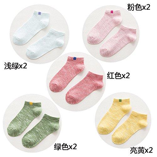 ZHFC-boot socken, frauen ist reine farbe baumwolle, dünnen socken, sommer und frühling koreanischen version, persönlichkeit, reine farbe, sen - socken, kurzen lauf, mädchen, studenten.,f,zehn doppel - pack (1 paar pro farbe)