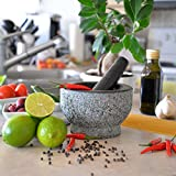 from HiCoup Kitchenware Granite Mortar and Pestle by HiCoup - Natural Unpolished, Non Porous, Dishwasher Safe Mortar and Pestle Set, 6 Inch Large Model HK-06