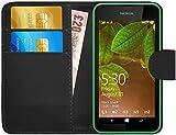 G-Shield Hülle für Nokia Lumia 530 Klapphülle mit Kartenfach und Magnetverschluß Kunstleder mit Displayschutzfolie und Stylus - Schwarz