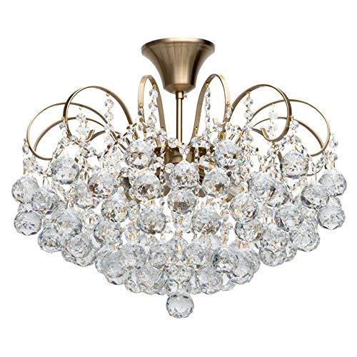 Lustre Magnifique, Design Baroque, en Métal couleur Bronze décorée de Pampilles Boules en Cristal, pour Salon, Salle de Séjour, Chambre, 6 amp.x60W E14