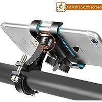 Handyhalterung Fahrrad Aluminium Handyhalter fürs Fahrrad Motorrad mit 360 Drehen, Anti-Shake Fahrrad Handy Halterung Universal für iPhone Samsung Huawei & 4,0-6,2 Zoll Smartphone (Schwarz)