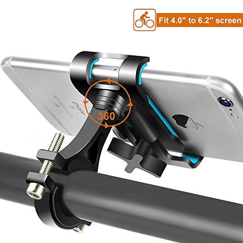 Supporto Bici Smartphone Rotazione a 360 Gradi Porta Cellulare Bici Universale, Supporto Manubrio per Bicicletta Moto, Porta Telefono Ciclismo per iPhone X/8/8 Plus Galaxy S9/S9 Plus/S8/S8 Plus (Nero)