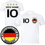 ElevenSports Deutschland Trikot mit GRATIS Wunschname + Nummer + Wappen Typ #D 2018 günstig im EM/WM weiss - Geschenke für Kinder,Jungen,Baby. Fußball T-Shirt personalisiert als Weihnachtsgeschenk