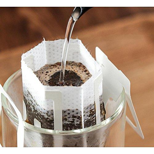 KOBWA Kaffee-Drip-Filter, SingleServe Einweg Kaffee Tee Drip Filtertüten mit Hängenden Ohr, 50 GRAF Kaffee-Papier-Filter für die Meisten Tassen, Reisen/Home/Office/Camping