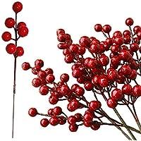 ZoneYan Bayas de Acebo Navidad, Bayas Artificiales Decorativas, Bayas Artificiales de Acebo, Bayas Artificiales,Mini Bayas Artificiales, 50 Tallos Decoraciones para Árboles de Navidad