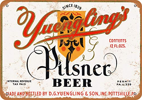 UKSILYHEART Iron Painting Signs Home Decor 7 X 10 Inches Metal Plaque 1934 Yuengling'S Pilsner Beer Vintage Look Cafe Pilsner