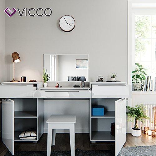 Design Frisiertisch Schminktisch Kosmetik Set Kommode mit Spiegel Hochglanz weiß - 2