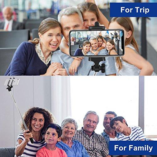 Bluetooth Selfie Stick, TOPLUS Selfiestick für alle handys bluetooth Selfie-Stange erweiterbar für iPhone 6s 6 5, Galaxy, Nexus und andere Smartphones (Schwarz) - 5