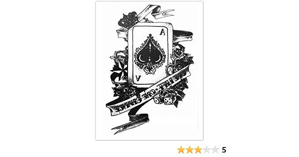 Erospa Tattoo Bogen Temporär Aufkleber Karte Pik Ass Poker Spiel 15 X 21 Cm Spielzeug