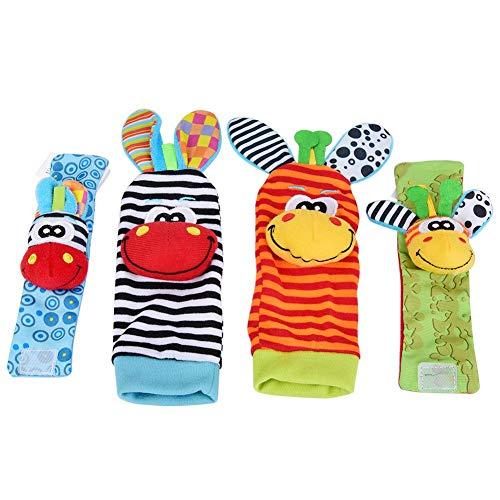 Calcetines y Muñeca para Bebé, 4pcs bebé calcetines y muñequeras sonajero juguetes conjunto de dibujos...
