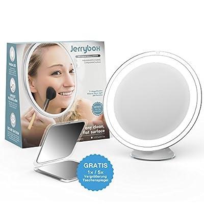Jerrybox LED-beleuchteter Schminkspiegel 7-fache Vergrößerung, einstellbar, dimmbar, kabellos, zum Zusammenlegen, Badezimmerspiegel mit warmen Licht und starkem Saugnapf zur Befestigung, weiß, BONUS Taschenspiegel - Top-Geschenk für Frauen ...