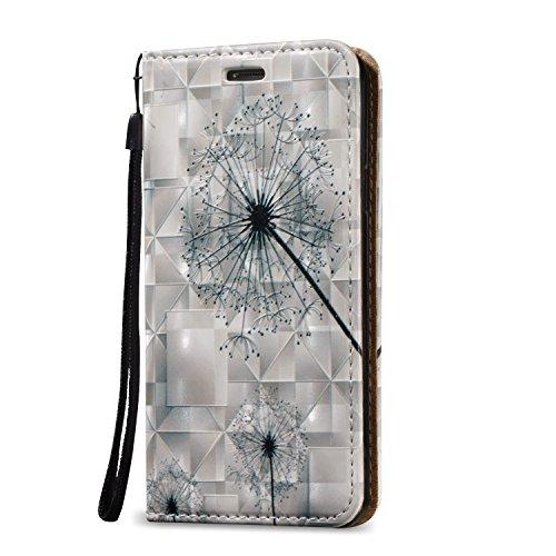 Tasche Luxus Hülle für Samsung Galaxy A3 (2015) A300 Leder Hülle,Handytasche SchutzHülle Brieftasche Wallet Flip für Samsung Galaxy A3 (2015) A300, TOCASO Leder Case Cover Glitter Strass Bling Leder T Schwarz Dandelion