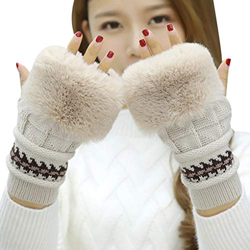 Cdrox Frauen Winter Stricken Nette Handschuhe Fest Farbe Warm Wolle Haar Splice Kurzfingerhandschuh (Rosa Gemischt Garn)