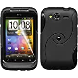 Black Gel Silicone TPU Case Cover with Screen Protector and Cleaning Cloth for HTC Wildfire S