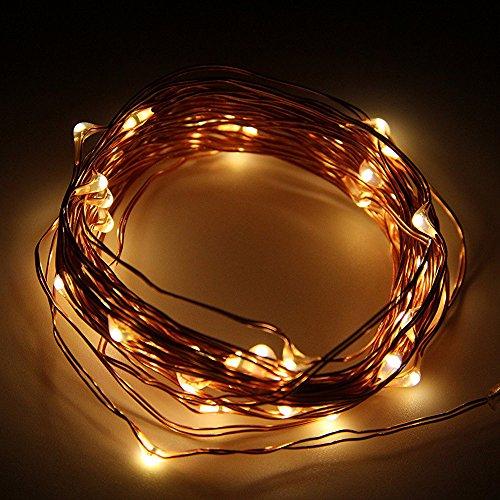 Goswot Starry String Lights mit Fernbedienung von Timer und Dimmer 50 LEDs 16ft Batterie Kupferdraht Warm - Schnur-dimmer Durch
