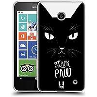 Head Case Designs Zampa Nera Stampe Di Gatti Back Case Cover in Silicone per Nokia Lumia 630 Dual SIM 630 635 - Paw Stampe