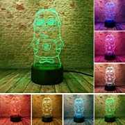 It can be put in bedroom, child room, living room, bar, shop, cafe, restaurant etc as decorative light.Specification:1.3D stereoscopic effect:laser sculpting,more than 95% light transmittance.2. 7 Colors change: Red, Green, Blue, Yellow, Cyan...